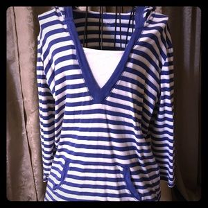 Striped - 3/4 sleeve - hooded casual shirt